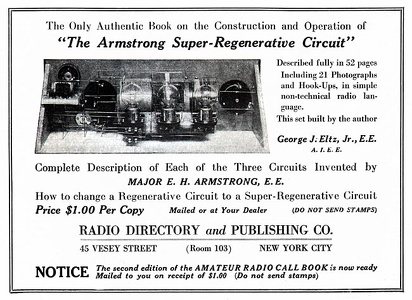 Armstrong Super-Regenerative Circuit Book -1922A