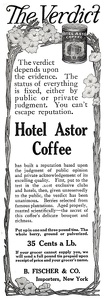 Hotel Astor Coffee -1910A