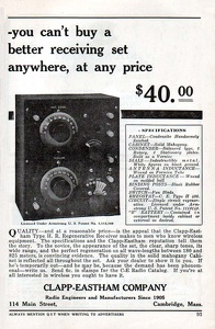 Clapp-Eastham Receivers -1922A