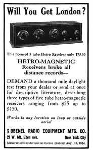 Debnel Hetro-Magnetic Receivers -1925A